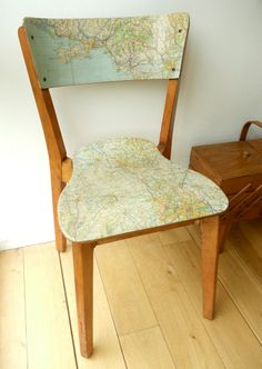 Map Chair - Mod Podge old chair with an old map. Great Upcycle!