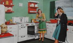 Baking, nibbling and chatting in 1940s red and white kitchen style. #home #decor #vintage #retro #homemaker #housewife #women #kitchen #1940s