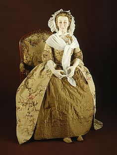 England  Woman's Robe à l'Anglaise, circa 1730  Costume/clothing principle attire/entire body; Costume/clothing principle attire/lower body, a) Robe à l'anglaise: Brocaded silk taffeta, linen lining; b) Petticoat: Quilted silk, a) Robe à l'anglaise center back length: 56 1/2 in. (143.51 cm); b) Petticoat center back length: 36 1/2 in. (92.71 cm)  Mrs. Alice F. Schott Bequest (M.67.8.73a-b)  Costume and Textiles Department.