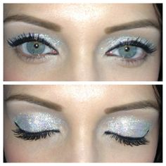 Glitter sparkly bling eyeshadow makeup silver iridescent
