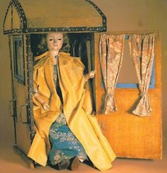 """""""Miss Barwick"""" has her very own sedan chair! Wooden doll and sedan chair, c.1760.  24 inches tall on jointed legs in blue silk stockings and tiny leather shoes. Her gesso-covered head is artfully painted, her black enamel eyes sparkle, and her fair curls are  human hair. via Two Nerdy History Girls: The Perfect Eighteenth Century Doll"""