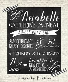 Cute chalkboard birth announcement