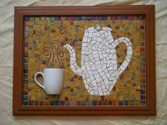 "Coffe or Tea? 23 1/4"" x 18 1/4"" Mosaic Wall Art"
