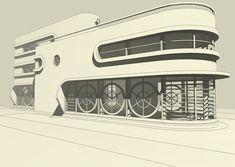 3D digital design of a Streamline Moderne villa