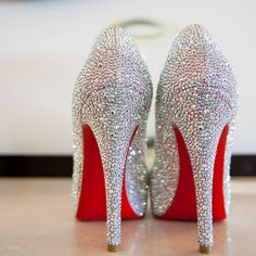 Crystal encrusted bridal heels | Derek Wong Photography | www.theknot.com
