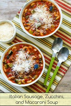 For years I've been making this Italian Sausage, Zucchini, and Macaroni Soup for family parties. If you'd prefer a Low-Carb and Gluten-Free soup you can omit the macaroni and use a little more zucchini. [from KalynsKitchen.com] #FamilyFavorite #CanBeLowCarb #CanBeGlutenFree