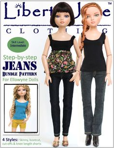 Jeans Bundle PDF sewing pattern for Ellowyne Wilde Dolls - Liberty Jane - Pixie Faire