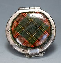 A very rare tartan McLean pattern concertina action sovereign purse with plated locking frame. Scottish c1850  Dimensions in Inches: Dia: 1.5 ins