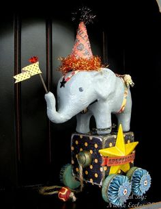 Circus Elephant Vintage Inspired Pull Toy