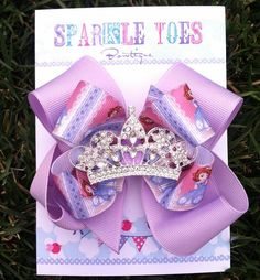 SOFIA THE FIRST Bow - Princess Sofia - Princess bow - Sofia the first Birthday - Girls Hair Bows - Toddler, Infant, Big girls Bow. $12.99, via Etsy.