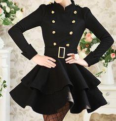 black and gold coat dress