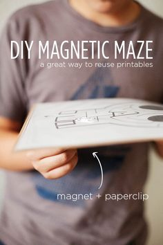 Kid Inspiration - All for the Boys - DIY Magnetic Maze. A great way to reuse printables like mazes. Great for travel too!