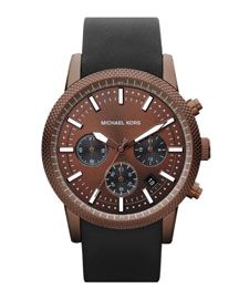 Michael Kors Espresso Stainless Steel Runway Chronograph Watch @uppercanadamall