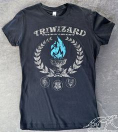 HARRY POTTER TRIWIZARD Tournament Women's Shirt Ringspun Cotton Dark Grey -- Blue Flames of the Goblet of Fire Spit out Harry Potter's Name