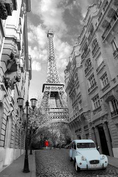 red girl, eiffel tower, paris, poster, blue car