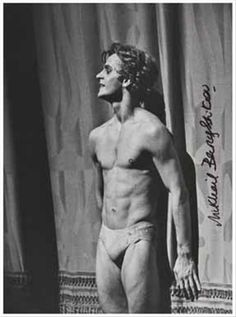 """Baryshnikov in the curtain call from """"Le Sacre du Printemps"""" (ABT  production), Metropolitan Opera House, NYC June  (1976). Photograph by. W. Reilly."""