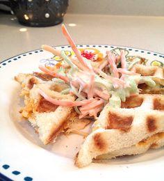 """Grilled"" Buffalo Chicken Sandwich w/ Bleu Cheese Veggie Slaw"