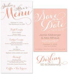 Darling Save the Date and wedding day stationery | by The Green Kangaroo, Inc.