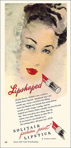 The incomparable beauty and allure of a classic red lip. #1940s #vintage #lipstick #ad