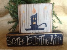 Primitive Country Halloween Candle Scare Is In The Air Wood Shelf Sitter Blocks #ScaryCandle