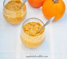 Dairy Free Pumpkin Mousse.  Perfect for Thanksgiving.  Can be made in minutes.  Very light and satisfying.  Vegan, gluten free and paleo. #no gluten, no grain recipes