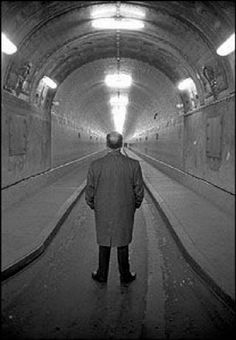 Robert Lebeck. Alfred Hitchcock in the old Elbtunnel, Hamburg/Germany, 1960.