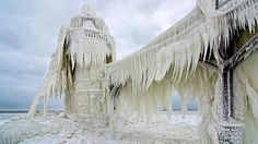 The St. Joseph, Mich., outer light covered with a thick coating of ice on Jan. 26, 2013. (Tom Gill)