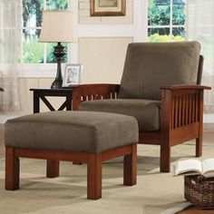 @Overstock - Mission style meets maximum comfort with this Hills oak chair and ottoman. The solid wood frame is covered with a plush microfiber cushion. The included matching ottoman lets you put your feet up in style or can be used as extra living room seating.http://www.overstock.com/Home-Garden/Hills-Mission-style-Oak-Olive-Chair-and-Ottoman/4401048/product.html?CID=214117 $310.99