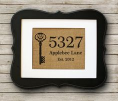Personalized Housewarming Gift on Burlap - Home Address Sign with Monogram Key on Etsy, $20.00