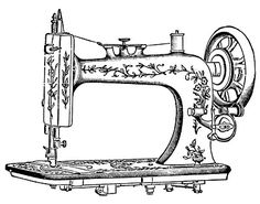 Antique Clip Art - Pretty White Sewing Machine The Graphics Fairy