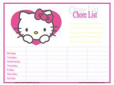 Hello Kitty Chore Chart Printable