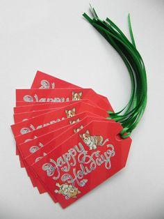Corgi Happy Holidays tags