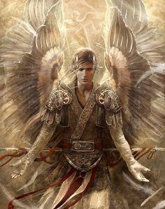 warrior, fantasi, god, archangel michael, heaven, concept art, digital art, eve ventru, angels