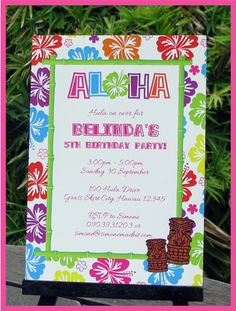 Printable Hawaiian LUAU Invitation - you personalize at home with Adobe Reader. Instant Download!
