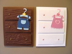 pinterest card ideas | used Cricut cartridge 'Baby steps' for the baby clothes and wording ...