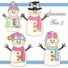 Snowman Fun 5 - Digital Clipart