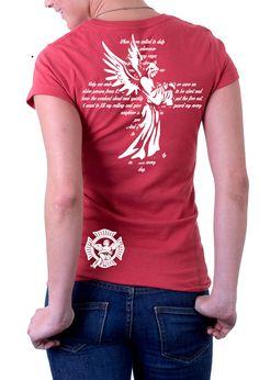 St. Florian firefighter t-shirt for women.