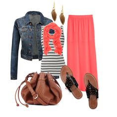 Coral maxi skirt with striped tank and denim jacket outfit