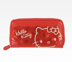 Hello Kitty Red Long Wallet: Metallic Quilt