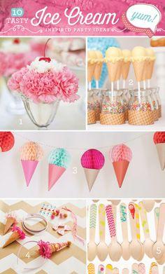 10 Creative {& Tasty!} Ice Cream Party Ideas - I love this! Cheaper than cake too!