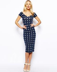 Enlarge ASOS Bardot Cross Back Spot Midi Dress