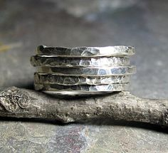 Hammered Sterling Silver Stackable Rings - Organic Skinnies   ...from Lavender Cottage Jewelry