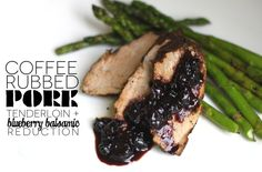 food, dinners, blueberri balsam, coffe rub, delici recip, coffee rubbed pork tenderloin, rub pork, jenessa dinner, blueberries