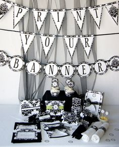 DIY, Damask Black and white, Party Printables -Complete Set.