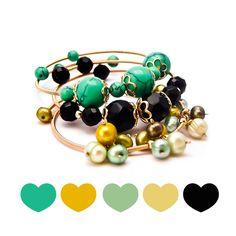 Paleta de colores de nuestras pulseras verdes y negras ♥