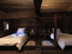 rustic wood bedrom in Switzerland