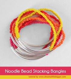 This noodle bead stacking bracelets tutorial is great for anyone, even with NO jewelry making experience. Make a tons of colors for the ulti...