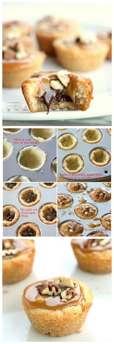 Turtle Tassies - Sugar cookie cups filled with caramel, chocolate, and nuts.