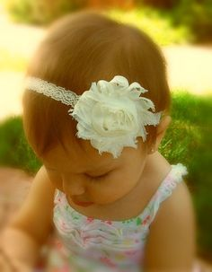 Ivory Shabby Flower Headband Baby Headbands by SecretBlossom, $4.25