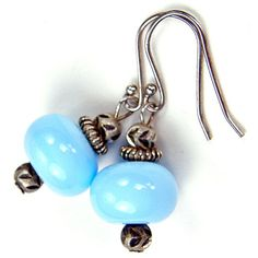 Lampwork Earrings Sky Blue Handmade Glass Beads Sterling Silver Dangle | Covergirlbeads - Jewelry on ArtFire